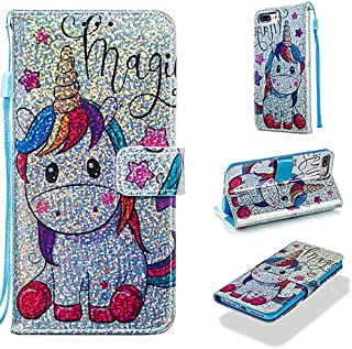 Case for iPhone 6S Plus/6 Plus/7 Plus/8 Plus,Pu Leather Sparkle Wallet Case with Inner Bumper with Card Slots Magnetic Strap Case Compatible with Apple iPhone 6S Plus/6 Plus/7 Plus/8 Plus -Horse