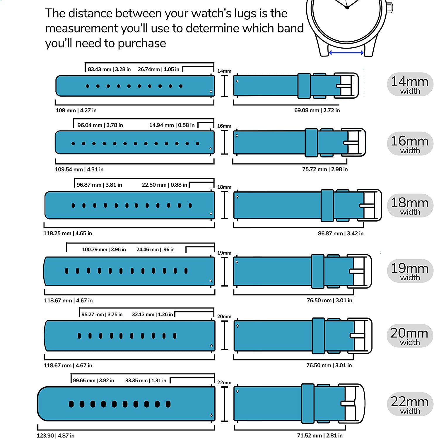 GadgetWraps 14mm Silicone Watch Band Strap with Quick Release Pins – Compatible with Pebble, Fossil, Skagen, Wristology - 14mm Quick Release Watch Band (Aqua Blue, 14mm)