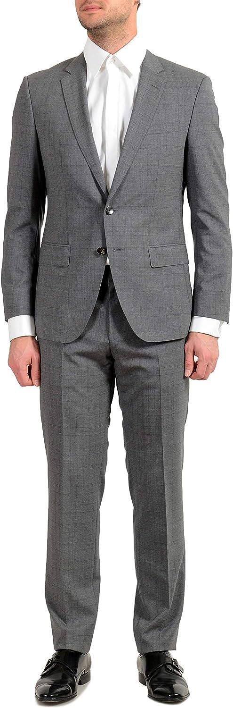 Hugo Boss Huge6/Genius5 Men's 100% Wool Plaid Slim Gray Two Button Suit US