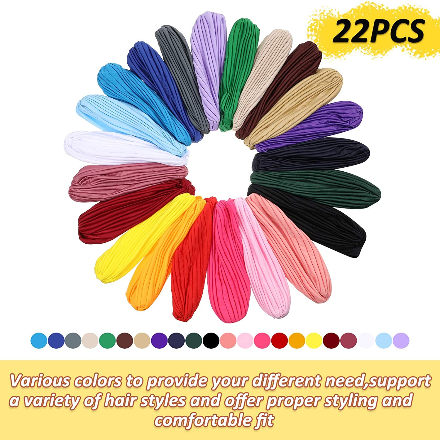 22 Pieces Stretch Turbans Head Beanie Cover Twisted Pleated Headwrap Assorted Colors Hair Cover Beanie Hats for Women Girls