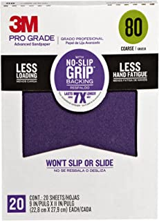 3M 26080CP-P-G Pro Grade No-Slip Grip Advanced Sandpaper, 9-Inch x 11-Inch, 80 Grit, Pack of 20