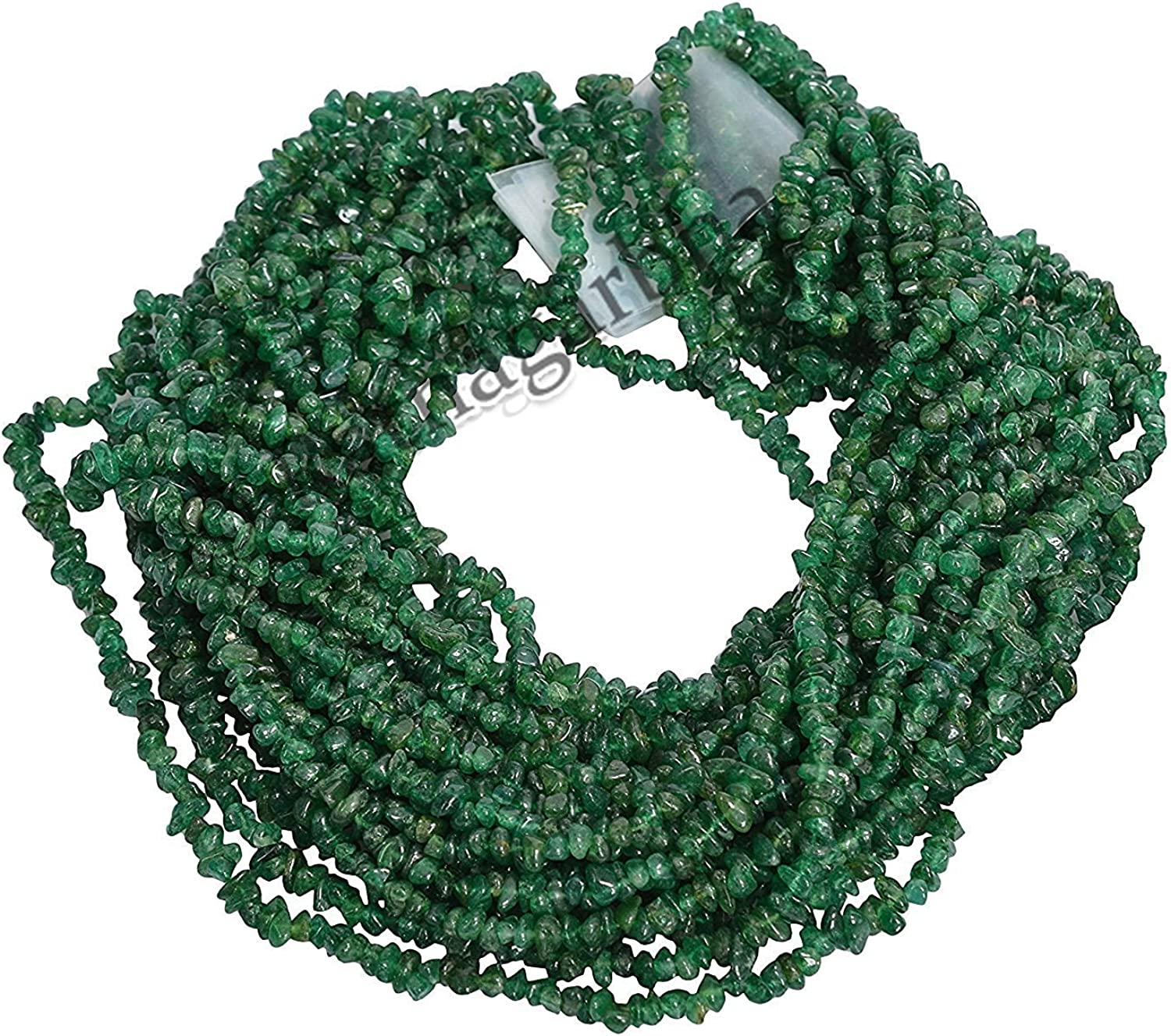 Wholesale Price Ratnagarbha Natural Green Aventurine Nuggets Chips Loose Gemstone Beads Prepared Exclusively 34 inch Length Emerald Green Color Jewelry Making