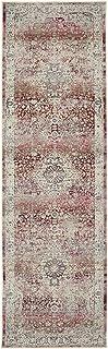 Nourison Vintage Kashan Bordered Red/Ivory 6' Runner Area Rug , 2' x 6'