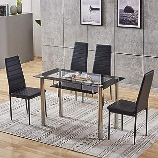 BJYG Sillas Modernas de Cristal Negro para Mesa de Comedor, Juego de 4 sillas de Piel sintética con Respaldo Alto, tapizado Rectangular, Mesa de Comedor de Vidrio Templado para Cocina, Comedor