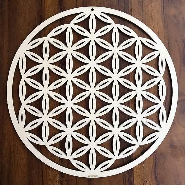 ZenVizion 13 5 Flower Of Life Wall Art Sacred Geometry Wall Art Wooden Wall Art Decor Yoga Wall Art Hanging Laser Cut Artwork Wall Sculpture Symbol Gift Purpose