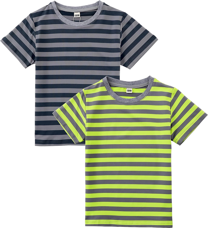 M2C Boys 2-Pack Short Sleeve Striped Crew Neck Tee T-Shirts