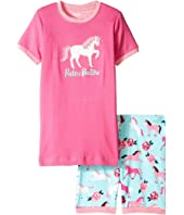 Hatley Kids - Ponies & Peonies Short Pajama Set (Toddler/Little Kids/Big Kids)