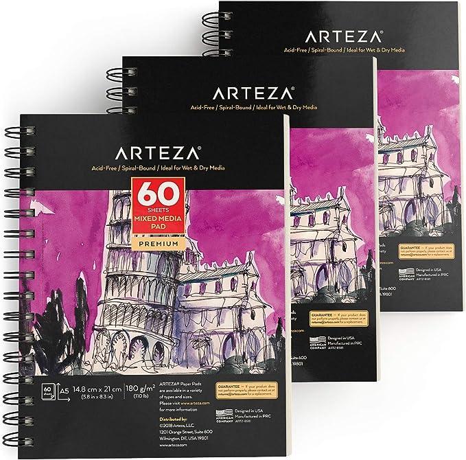 398 opinioni per Arteza Blocco Disegno Pittura Tecniche Miste A5, (14,8 x 21 cm) 60 Fogli