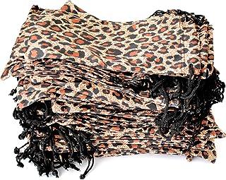Pouches for Glasses Cleaning Case Bag Black 1, 6, 12, 24,100, 2000 PCS (Leopard-100)