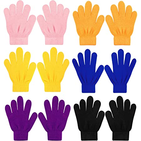 QKURT 6 pezzi Guanti magici elasticizzati per Bambini, Unisex Ragazzi Ragazze Knit Full Finger Gloves Guanti invernali per Abbigliamento quotidiano invernale