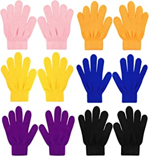 QKURT 6 Pezzi Guanti magici Elasticizzati per Bambini, Unisex Ragazzi Ragazze Knit Full Finger Gloves Guanti Invernali per...