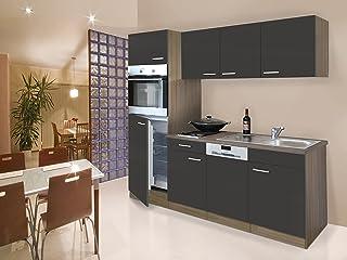 respekta Einbau Single Küche Küchenblock Küchenzeile 205 cm Eiche York grau Ceran