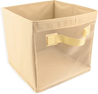 EASYVIEW Storage Cube with Handles 100% Woven Oxford Nylon Bin with Mesh See Thru Side 10.5 x 10.5 x 10 Inches, Foldable, (Beige)