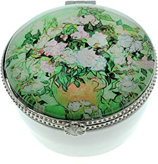 Value Arts Vincent Van Gogh Vase with Pink Roses Trinket Box, Ceramic and Glass, 2.5 Inches Diameter
