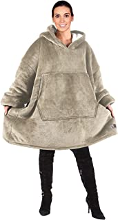 Catalonia Oversized Sherpa Hoodie Sweatshirt Blanket,Super Soft Warm Comfortable Giant Hoody with Large Front Pocket,for Adults Men Women Teens Grey