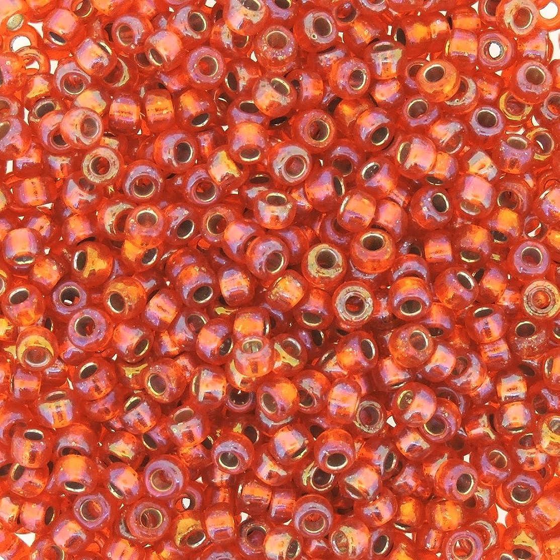 Miyuki Round Seed Bead Size 8/0 22g-tube Silverlined Orange AB