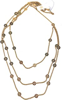 Tory Burch Multi Strand Gold Plated Chain Necklace Gold Plated