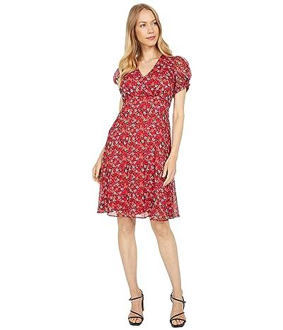 Calvin Klein Floral Print Puff Short Sleeve Dress Women