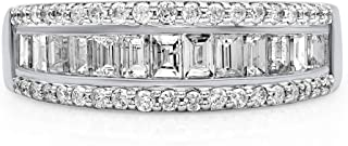 TJD 10K White Gold 1.00 Carat Round-Shape (H-I Color, I2 Clarity) and Baguette-Shape (G-H Color, I1-I2 Clarity) Gorgeous Diamond Band for Women, US Size 7