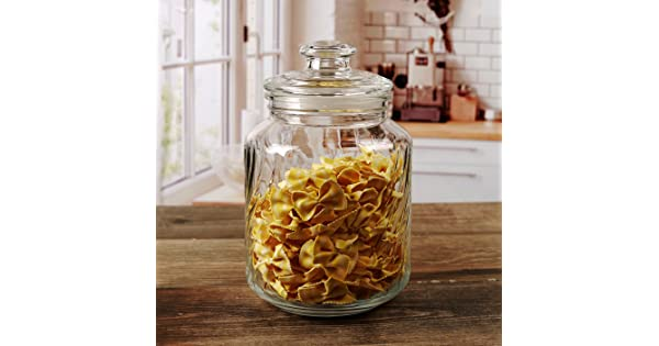 Circleware 7526 07526 Georgetown Canister With Swirl Design Clear 74.4oz Glass Lid