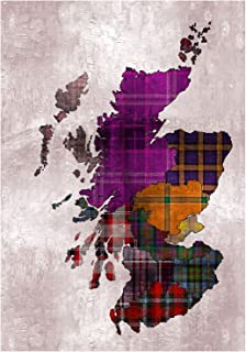 Wee Blue Coo Painting Map Outline Scotland Tartan Inset Regions Wall Art Print
