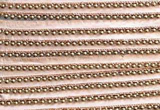 9 Yard Dupatta,Saree,Sari Kundan Lace,Glass Beads,Stone Work Border,Bollywood Sari,Wedding Golden