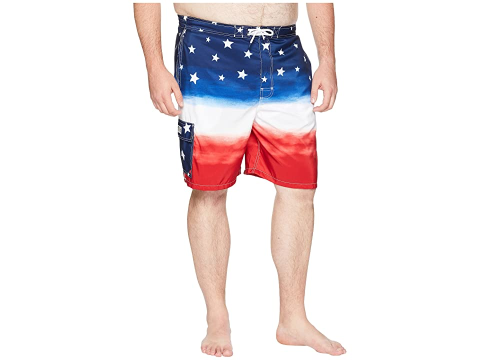 Polo Ralph Lauren Big Tall Polyester Kaiula Swim Trunk (Watercolor Red/White/Blue Ombre) Men