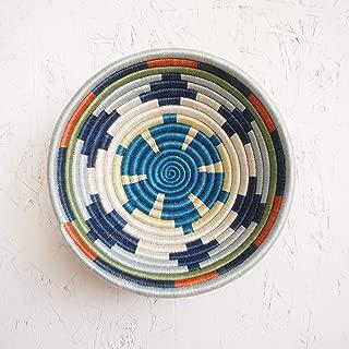 Small African Basket- Mwangaza/Rwanda Basket/Woven Bowl/Sisal & Sweetgrass Basket/Blues, Orange, Green, Yellow, White