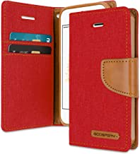iPhone SE/5S/5 Wallet Case with Free 6 Gifts [Shockproof] GOOSPERY Canvas Diary Ver.Magnetic [Denim Material] Card Holder with Kickstand Flip Cover for Apple iPhoneSE 5S 5 - Red, IP5-CAN/GF-RED