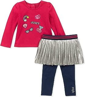 Juicy Couture 女童 2 件套紧身裤套装 粉色蓝宝石/*蓝 3T