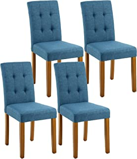 LSSPAID Classic Fabric Parson Dining Chairs With Solid Wood LegsSet Of 4 Blue