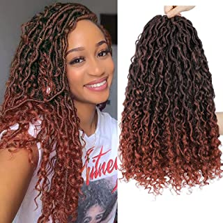 New Goddess Locs Crochet Hair 6 Packs 18 inch Copper Red River Faux Locs Crochet Hair Bohemia Locs Crochet Hair with Curly...
