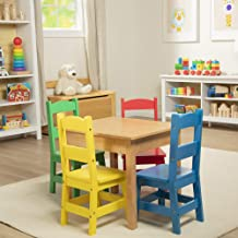 Melissa & Doug Kids Furniture Wooden Table & 4 Chairs - Primary (Natural Table, Yellow, Blue, Red, Green Chairs, Great Gift for Girls and Boys – Best for 3, 4, 5, 6, 7 and 8 Year Olds)
