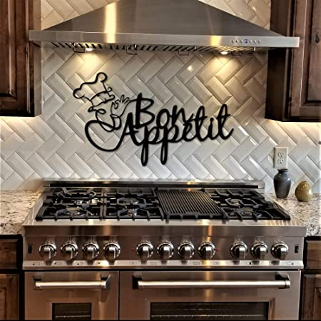 Amazon Com Tamengi Bon Appetit Kitchen Sign Metal Wall Art With French Chef Dining Room Decor Eating Theme Garden Outdoor
