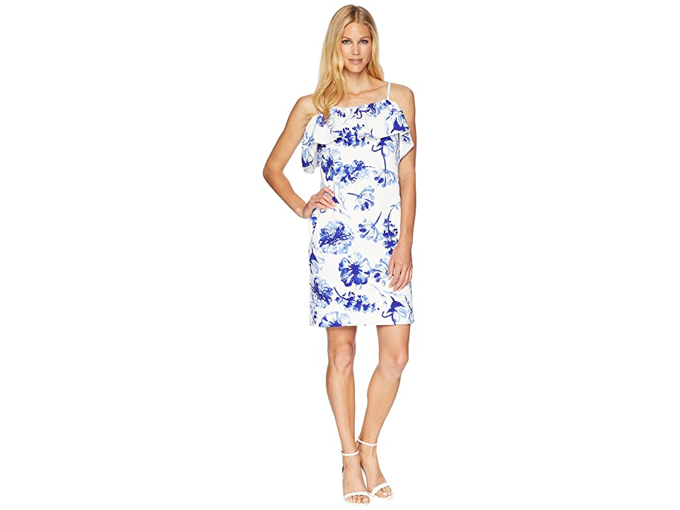 LAUREN Ralph Lauren B599 Texacana Floral Catalia Day Dress (Colonial Cream/Blue/Multi) Women