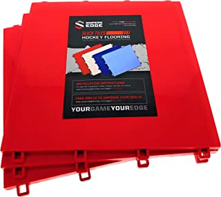 Sniper's Edge Hockey Dryland Slick Tiles (10 Red Squares) – Premium Grade Technology with UV Coated Protection, Built to L...
