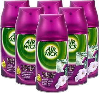 6 x Airwick Freshmatic Max Automatisk Spray Påfyllningar Slät Satin & Moon Lilly 250 ml
