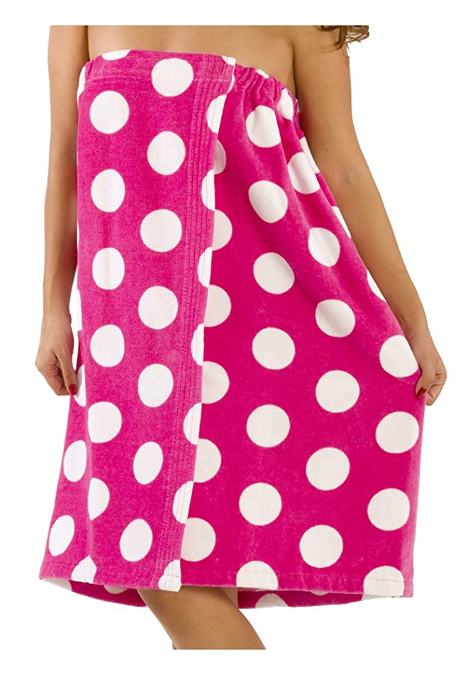 byLora Polka Dotted Women Bath Wrap Towel Cotton Cover Up - S/M, Fuchsia