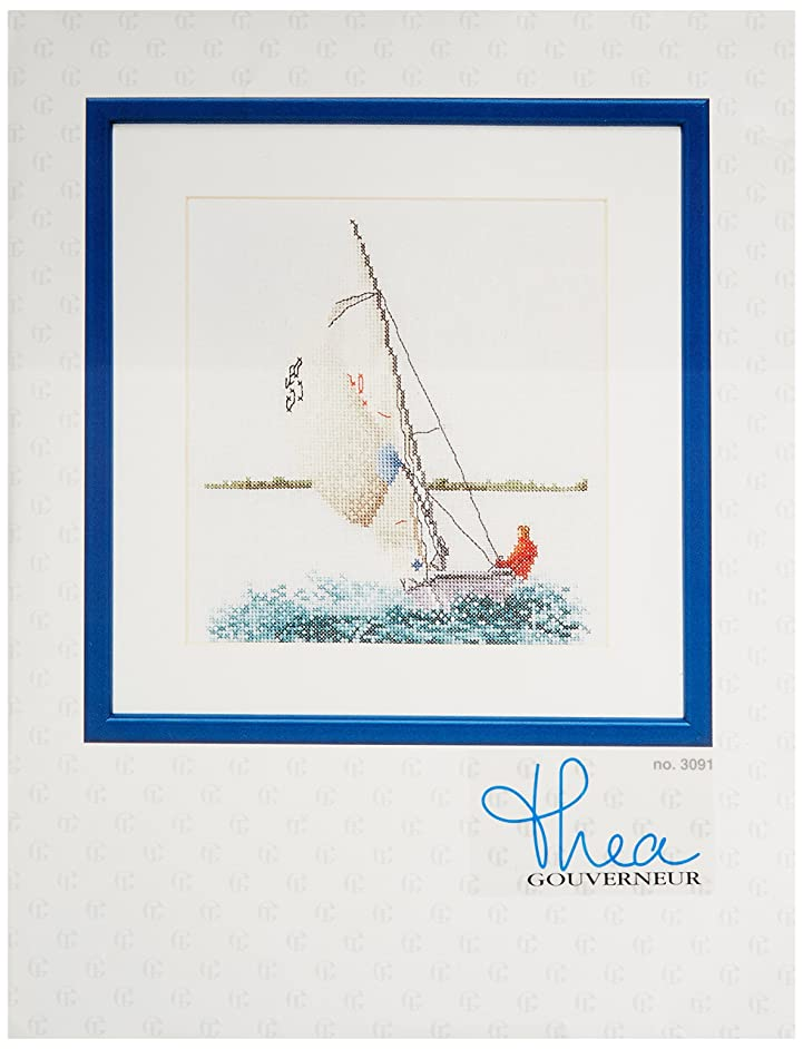 Thea Gouverneur TG3091A 18 Count Counted Cross Stitch Kit, 6-1/4 by 6-3/4-Inch, Sailing on Aida