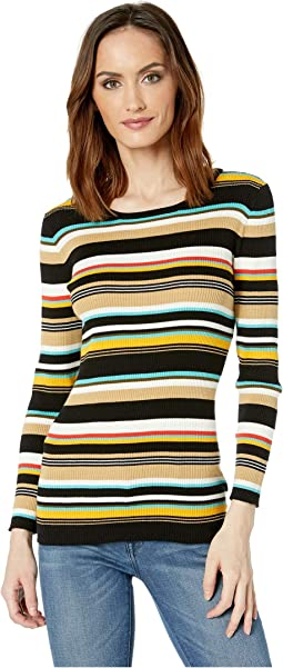 Long Sleeve Multicolor Ribbed Sweater