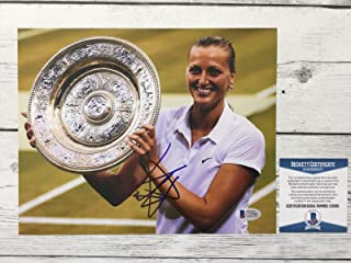 Petra Kvitova Autographed Picture - 8x10 Beckett BAS COA f - Beckett Authentication - Autographed Tennis Photos