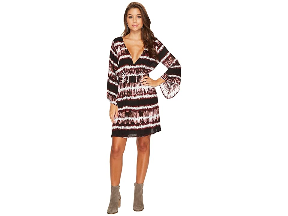 Jack by BB Dakota Laina Printed Rayon Crepe Kimono Dress (Dark Fig) Women