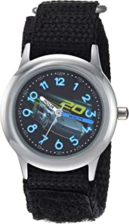 Disney Boys Cars 3 Stainless Steel Analog-Quartz Watch with Nylon Strap, Black, 15 (Model: WDS000299