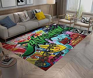 Hip Hop Style Wall Graffiti, Area Rugs, Washable Indoor Outdoor Rugs, Living Room Bedroom Carpet Suitable for Kids Carpet Playmat Nursery Rugs, 5' X3'3''