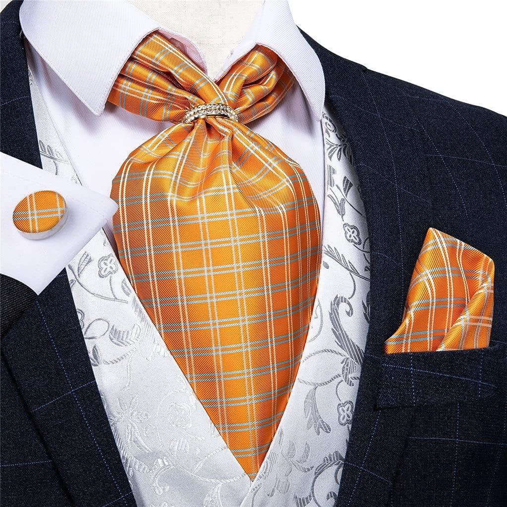 NJBYX Men Vintage Orange Check Silk Cravat Tie Scrunch British Style Wedding Party Necktie Handkerchief Ring Set (Color : Gold Ring, Size : One size)