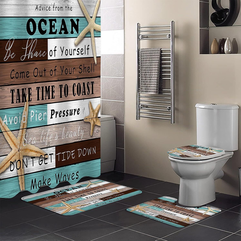 4 Piece Shower Curtain Sets Ocean Coastal Retro Starfish M Beach sale Max 69% OFF