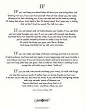 Desiderata Gallery Brand, If Poem by Rudyard Kipling in 1895. (Author of The Jungle Book) Ivory Card Stock 11x14 in.