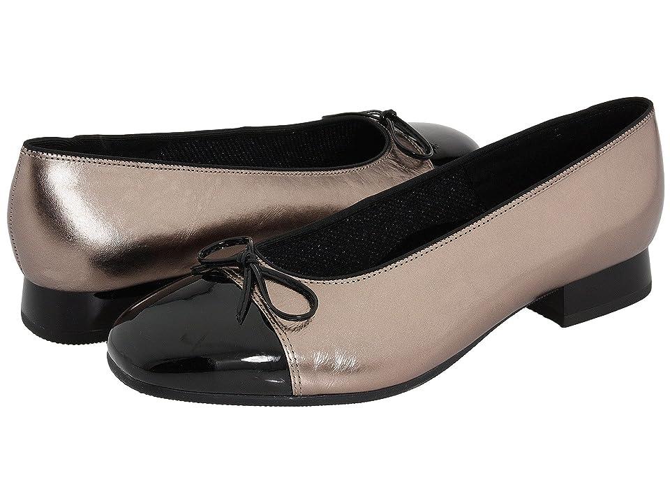 9ed8f4113976 ara Bel (Titan Metallic Calf w  Black Patent Tip) Women s Slip-on Dress  Shoes