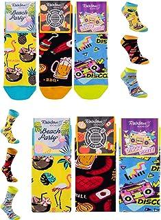 Rainbow Socks, Hombre Mujer Divertidos Sneaker y Altos Calcetines Party - 2/6 Pares