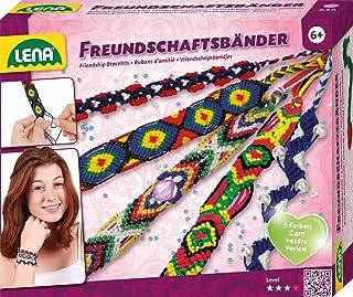 Lena 42686 Hantverksset vänskapsband, komplett set med garn i 6 färger och extra många trådpärlor, knytset för barn från 6...